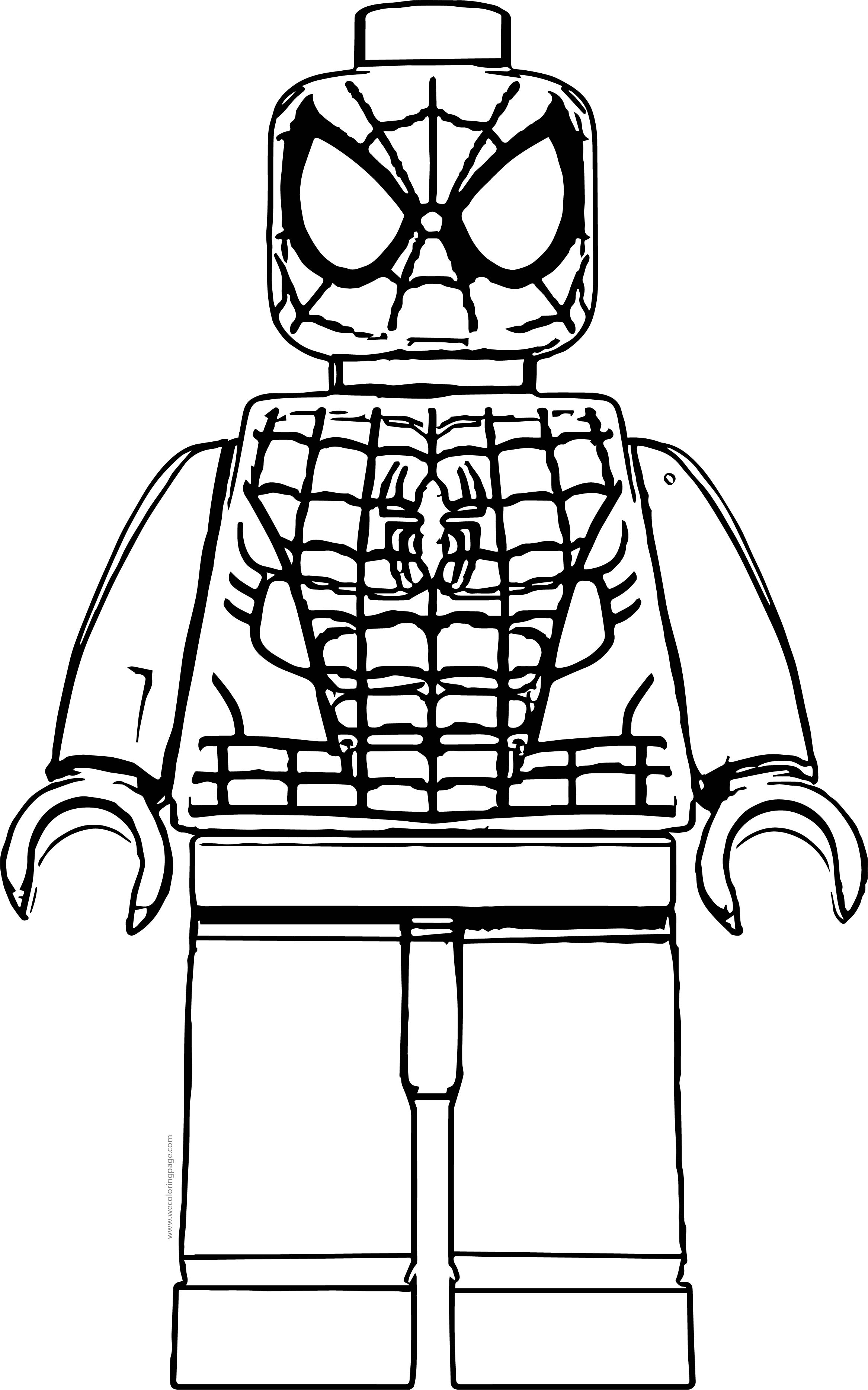 Spider man lego front view coloring page for Lego guy coloring page