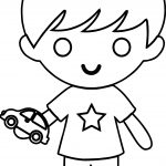 Star Boy With Toy Car Coloring Page