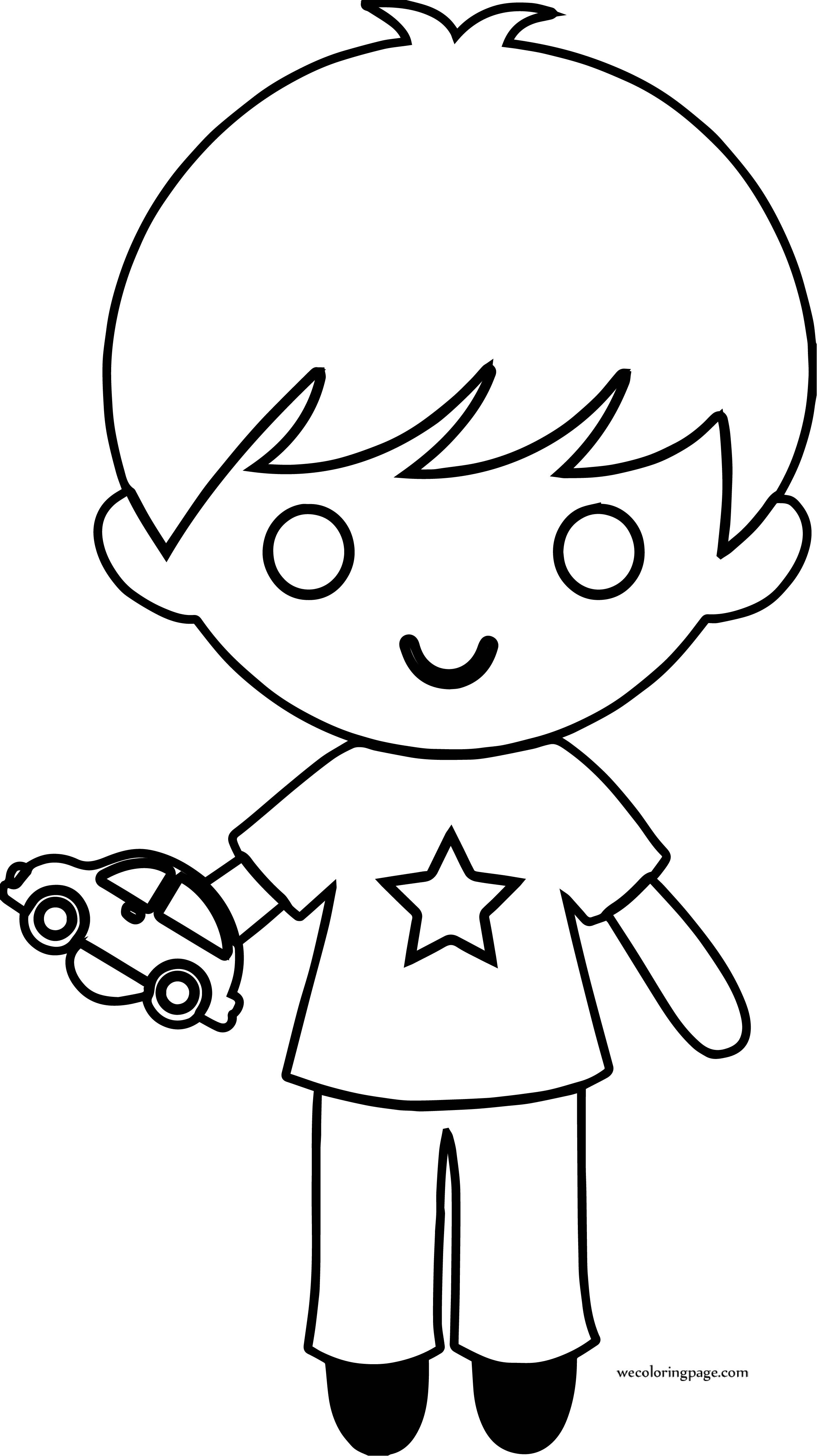 Toys For Boys To Color : Star boy with toy car coloring page wecoloringpage
