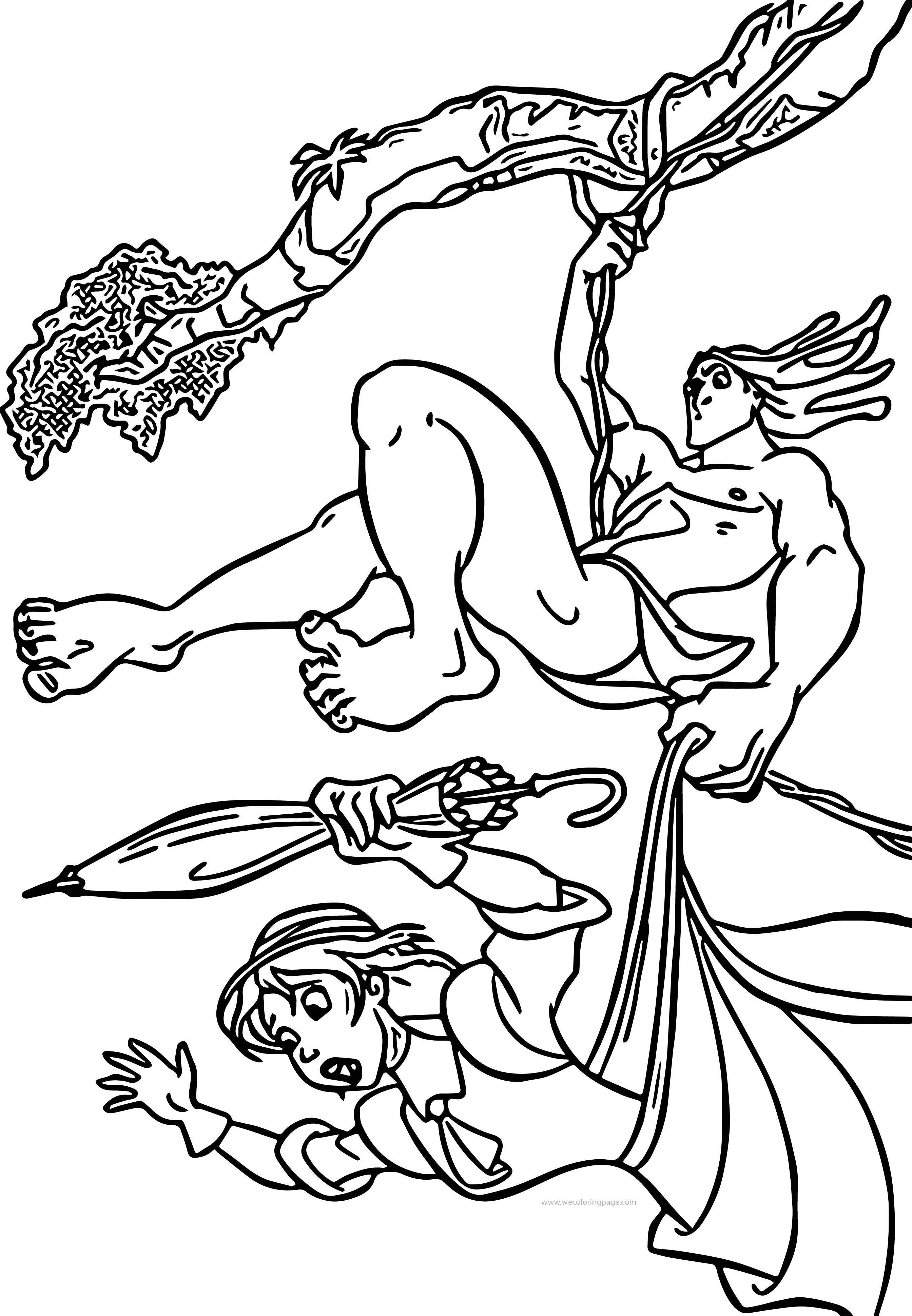 Tarzan And Jane Forest Coloring Pages | Wecoloringpage.com
