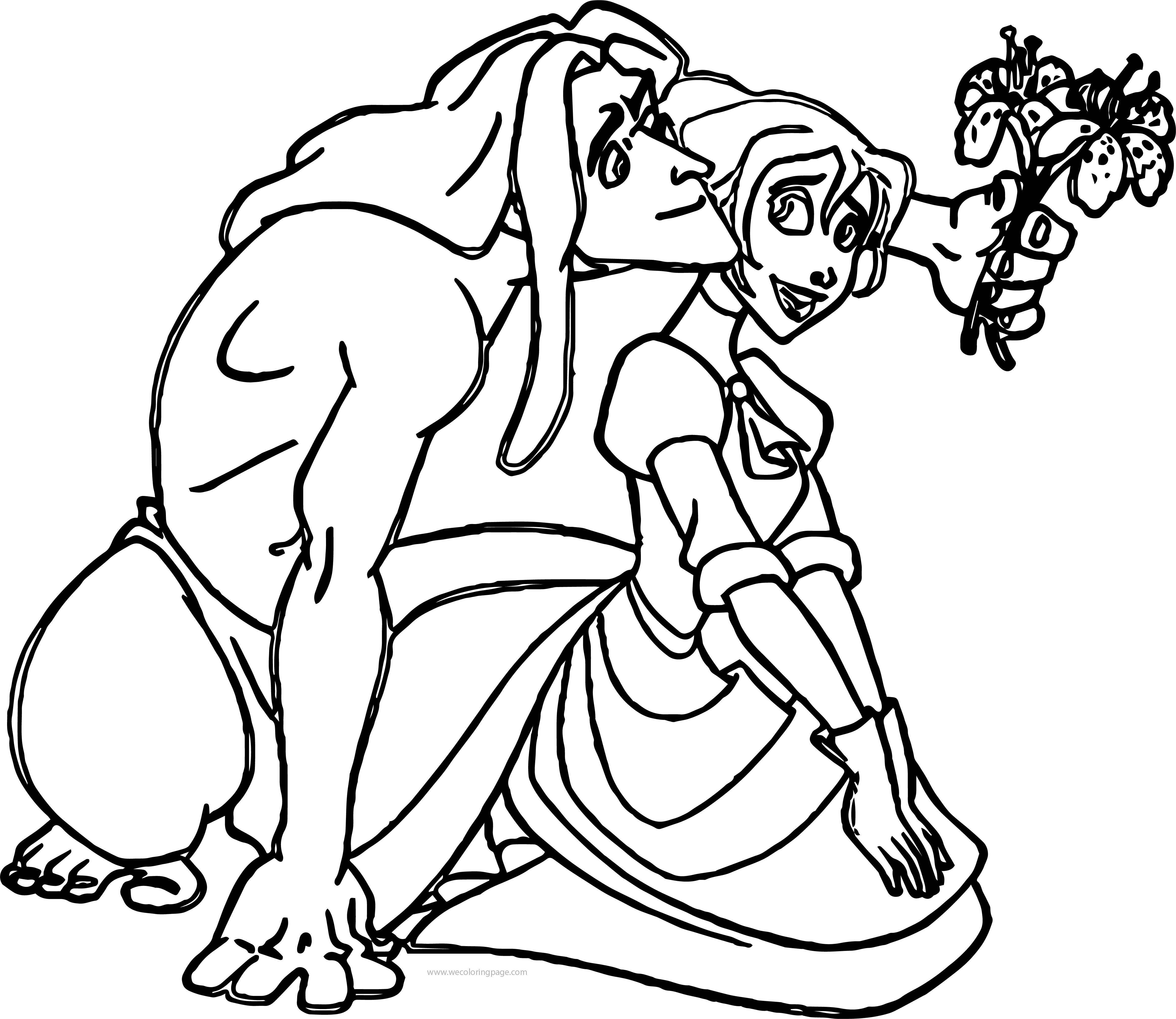Tarzan And Jane Give Flower Coloring Pages | Wecoloringpage.com