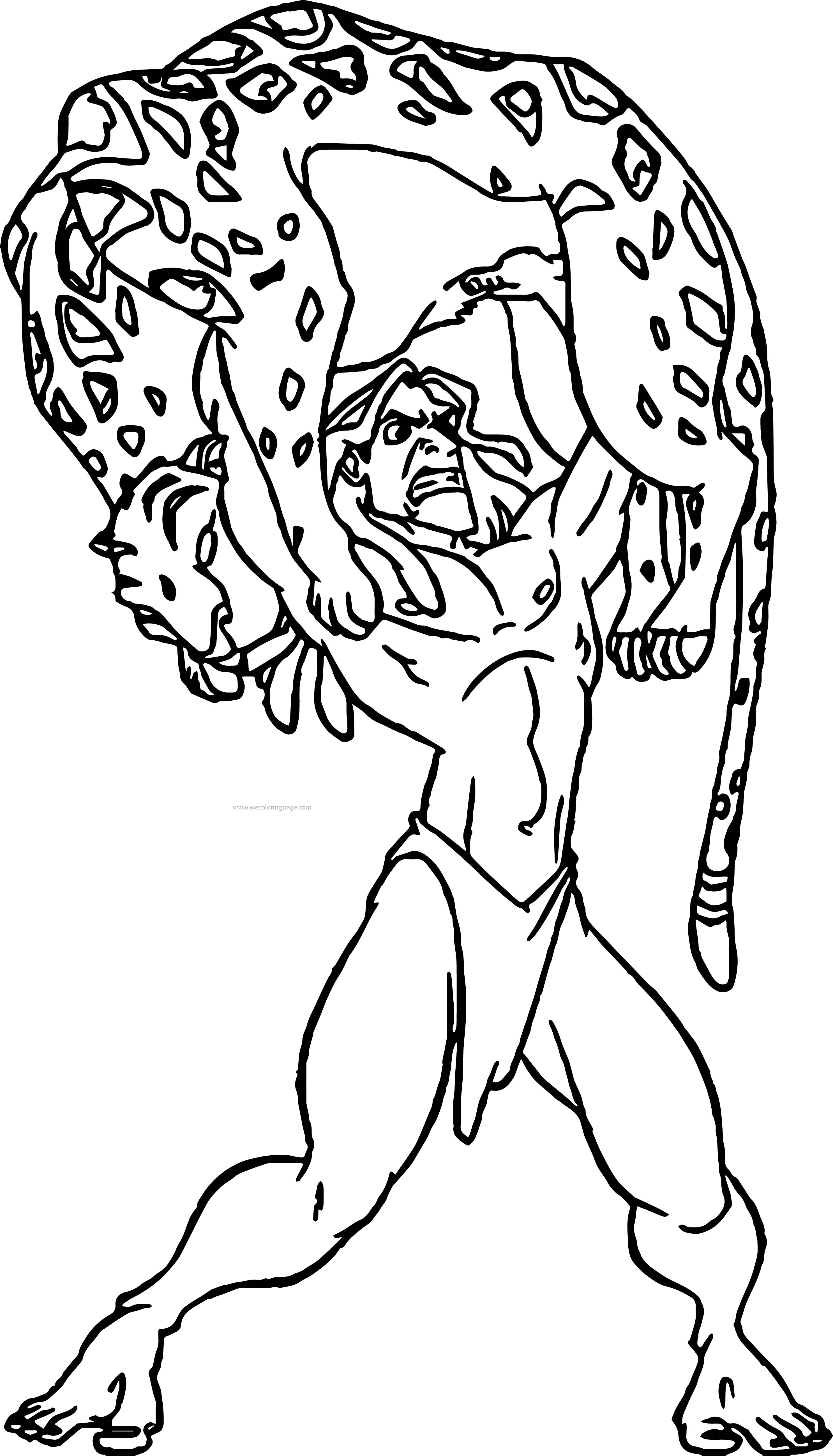 Tarzan Catch Lion Coloring Page