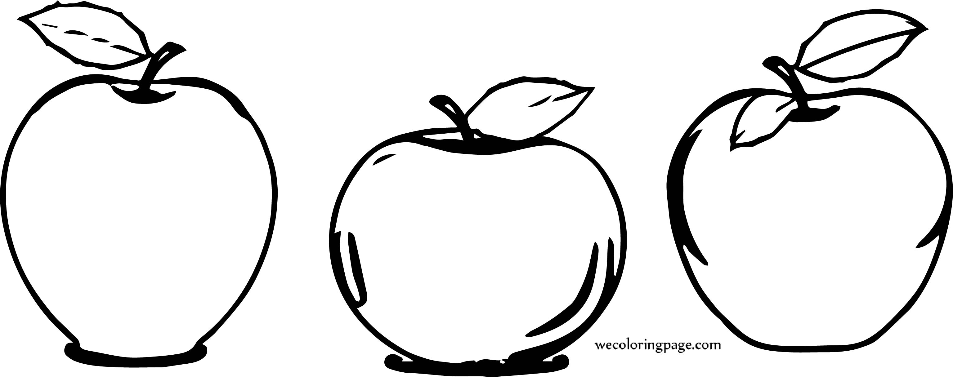 Three Apple Coloring Page