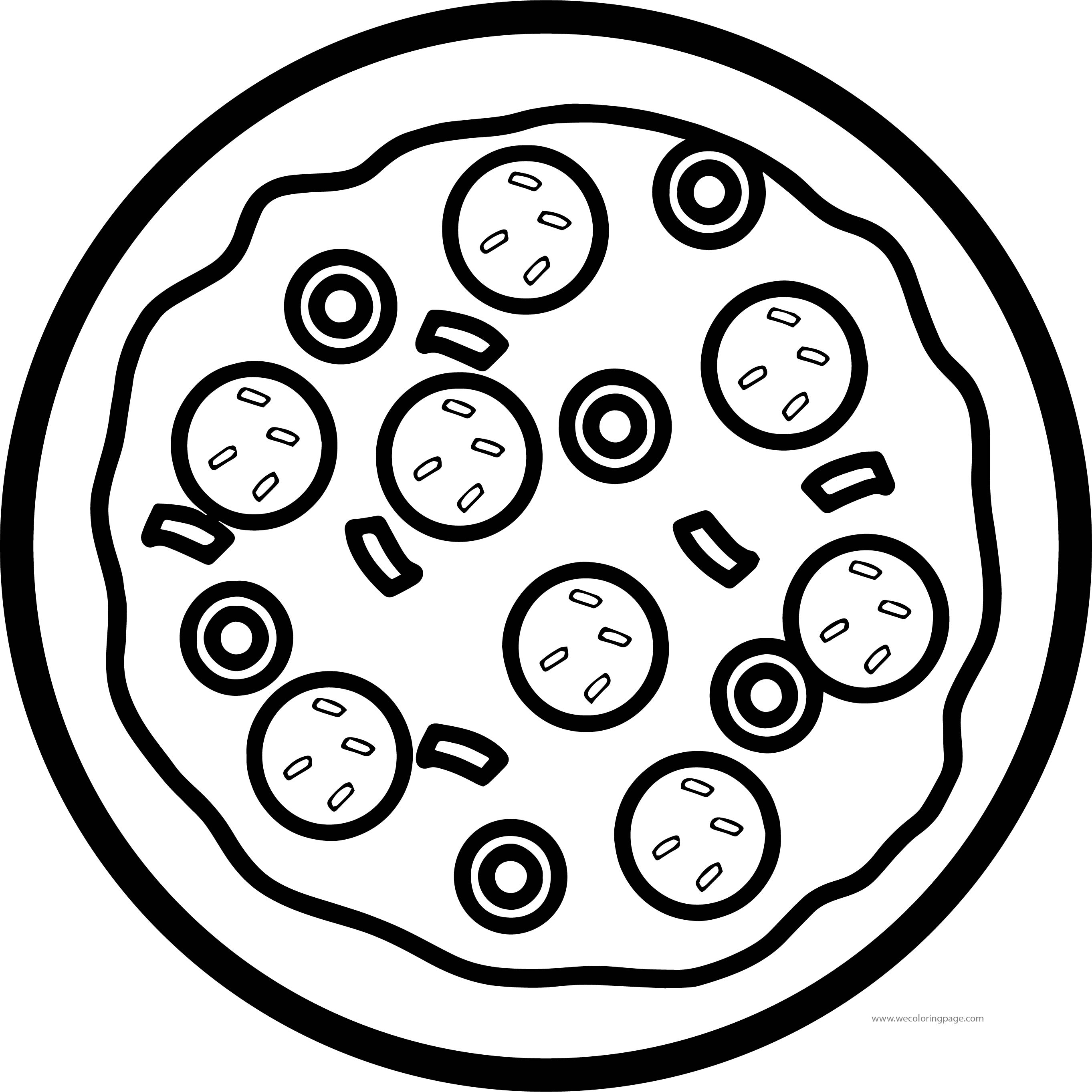 Top View Pizza Coloring Page