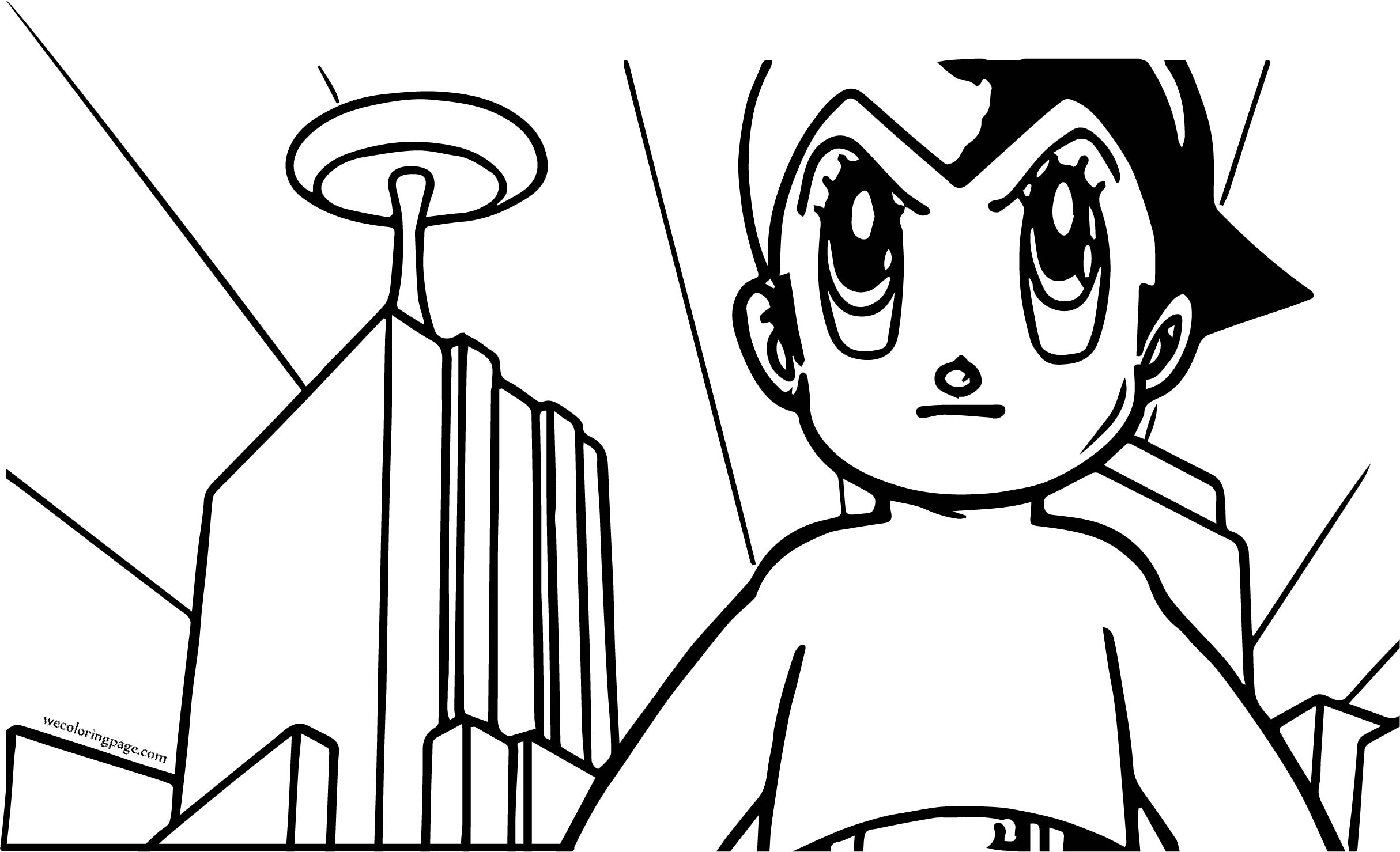 Astro Boy City Background Coloring Page