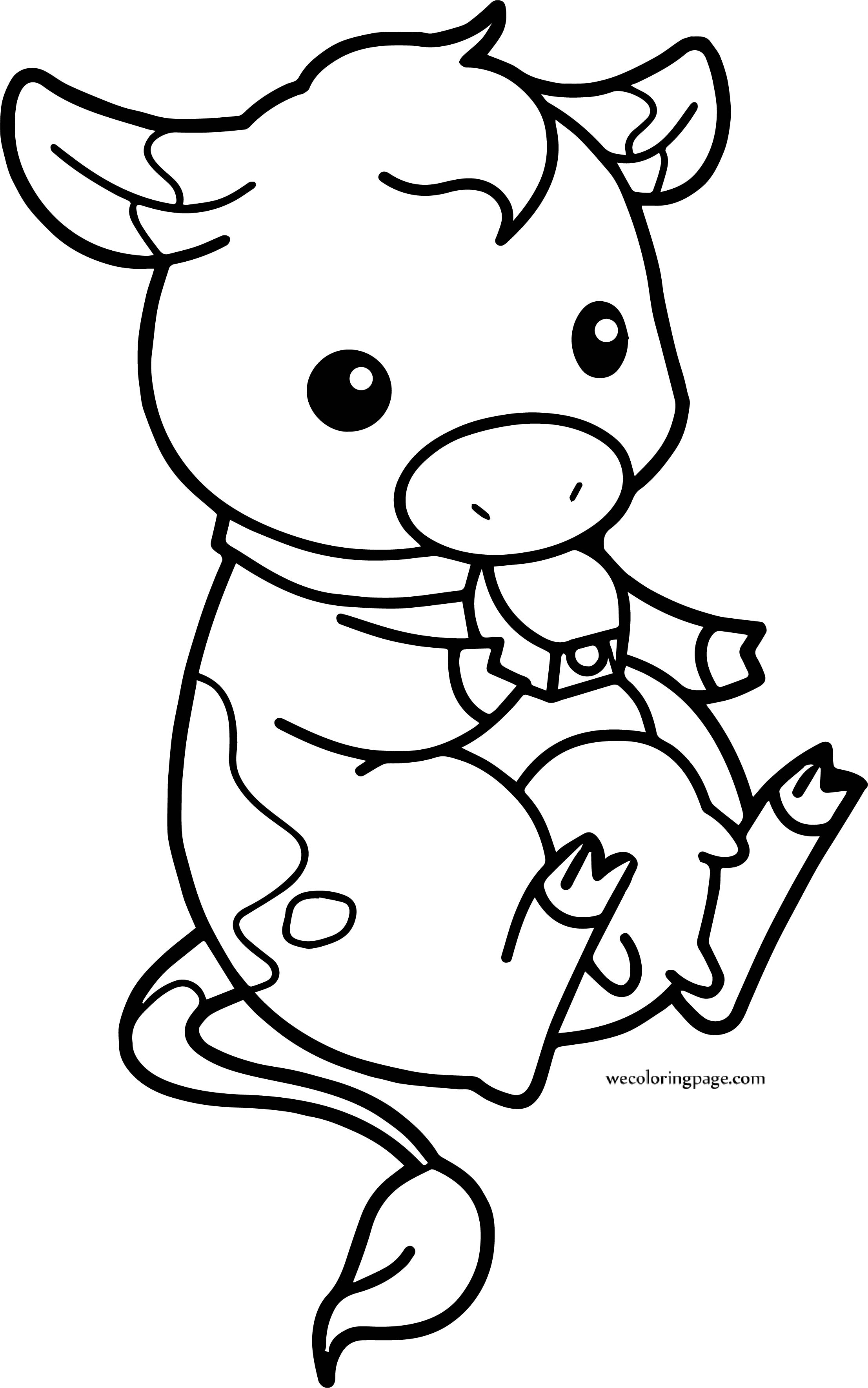 Baby Cow Chibi Farm Cow Coloring Page