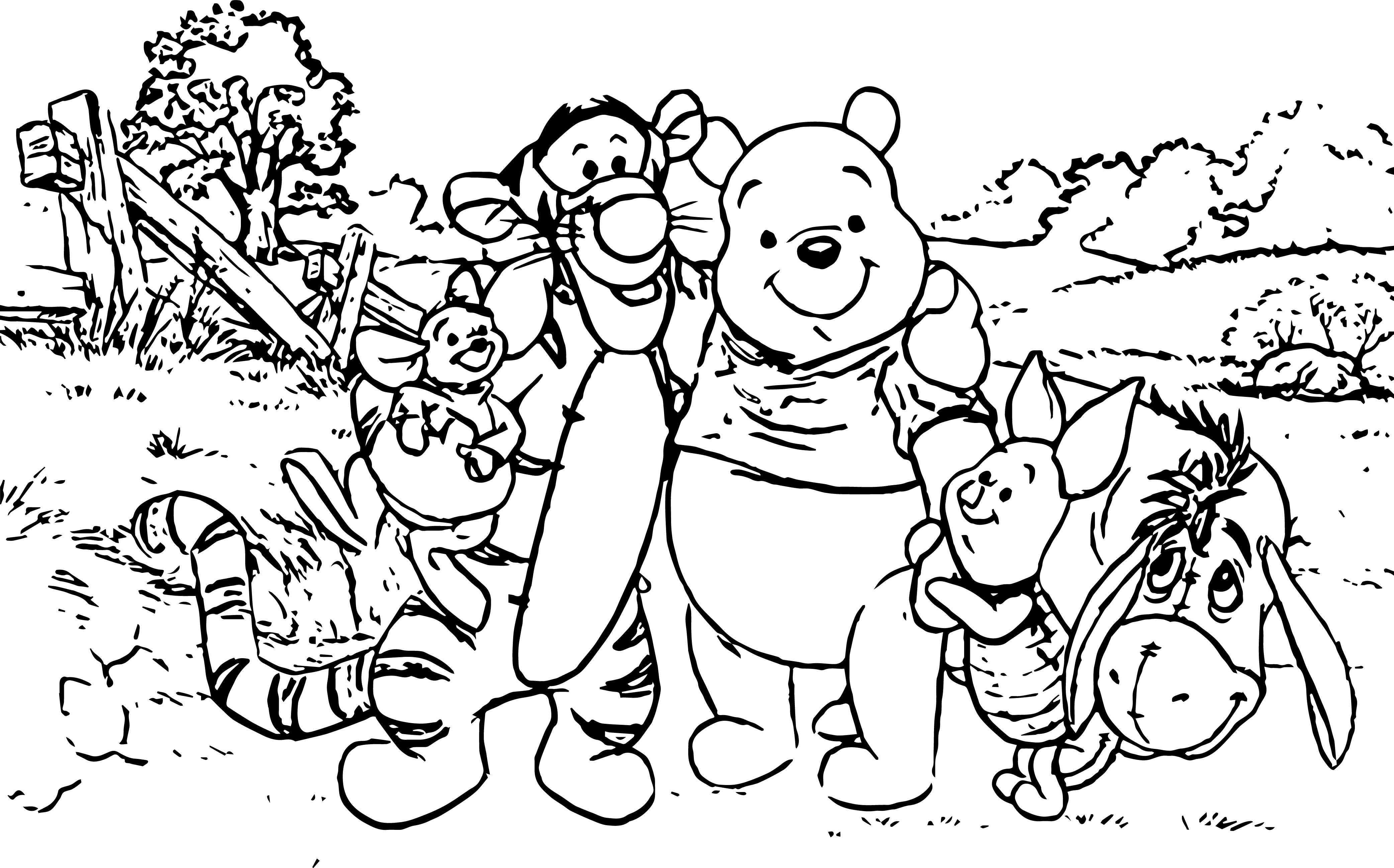 Baby Piglet Winnie The Pooh Forest Coloring Page