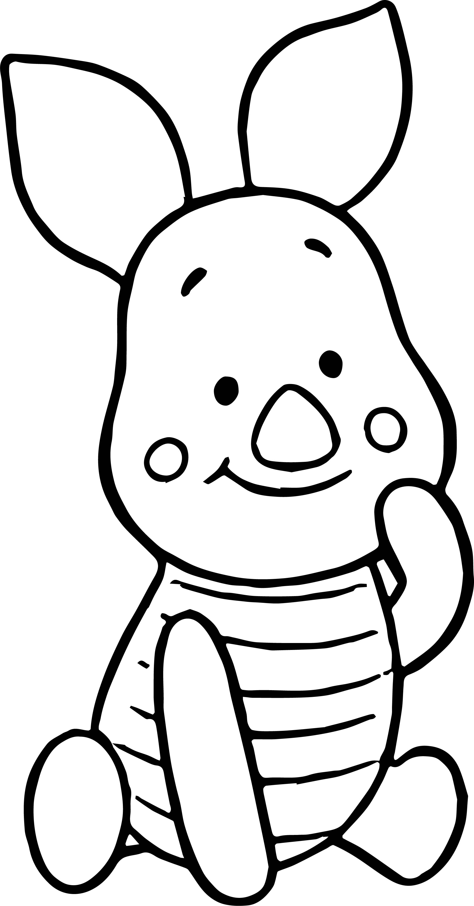 Baby Piglet Winnie The Pooh Touch Cheek Coloring Page