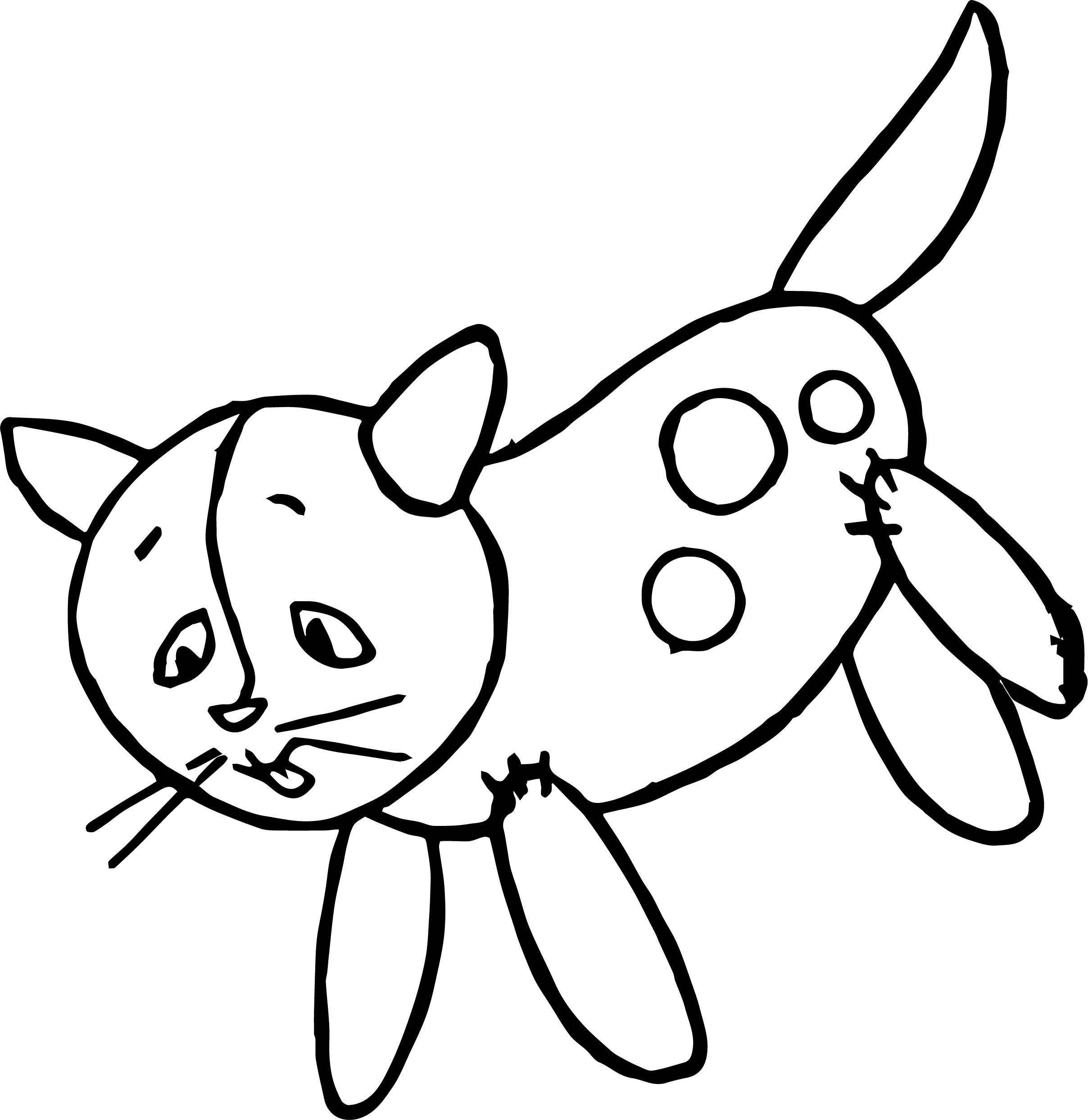 Balloon Cat Coloring Page