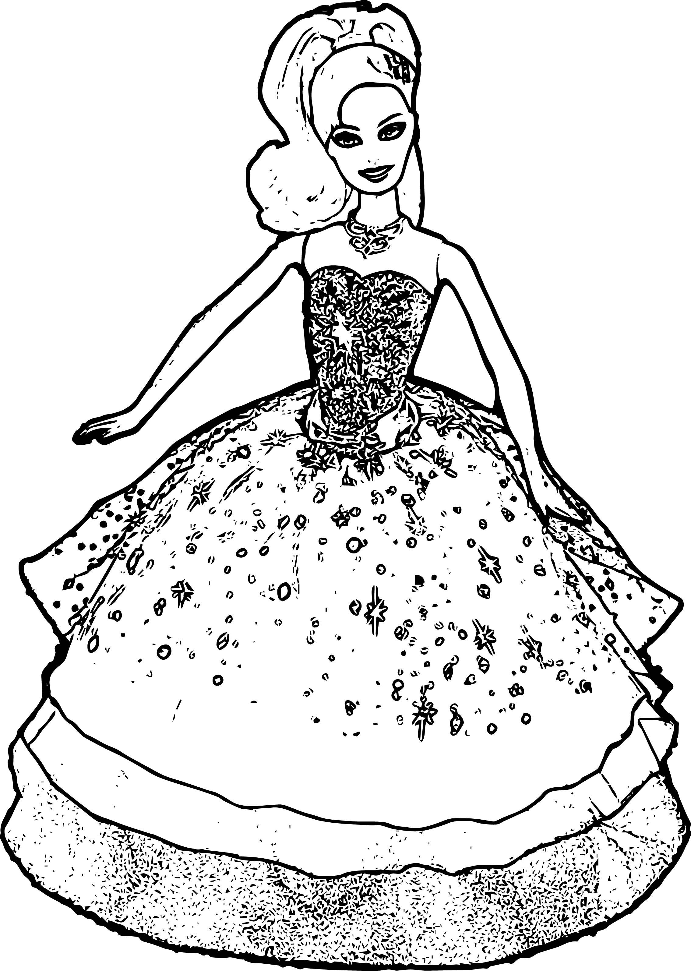 barbie logo coloring pages | Barbie Big Dress Coloring Page | Wecoloringpage.com