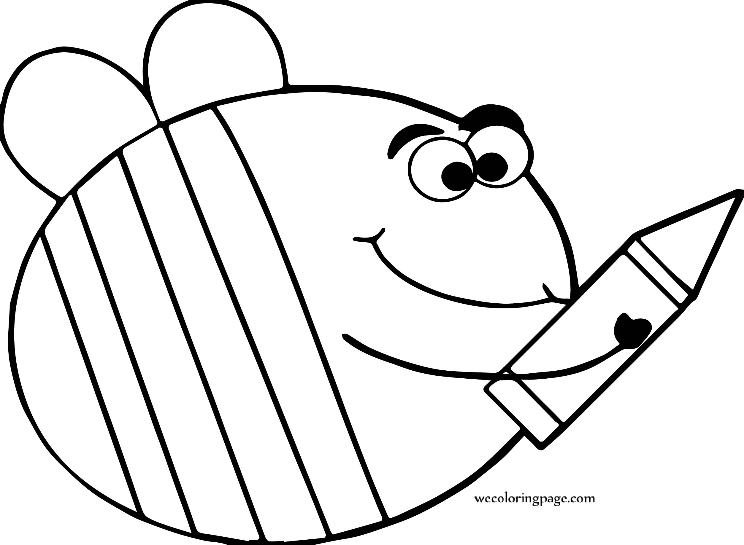 coloring pages crayons - bee crayon coloring page