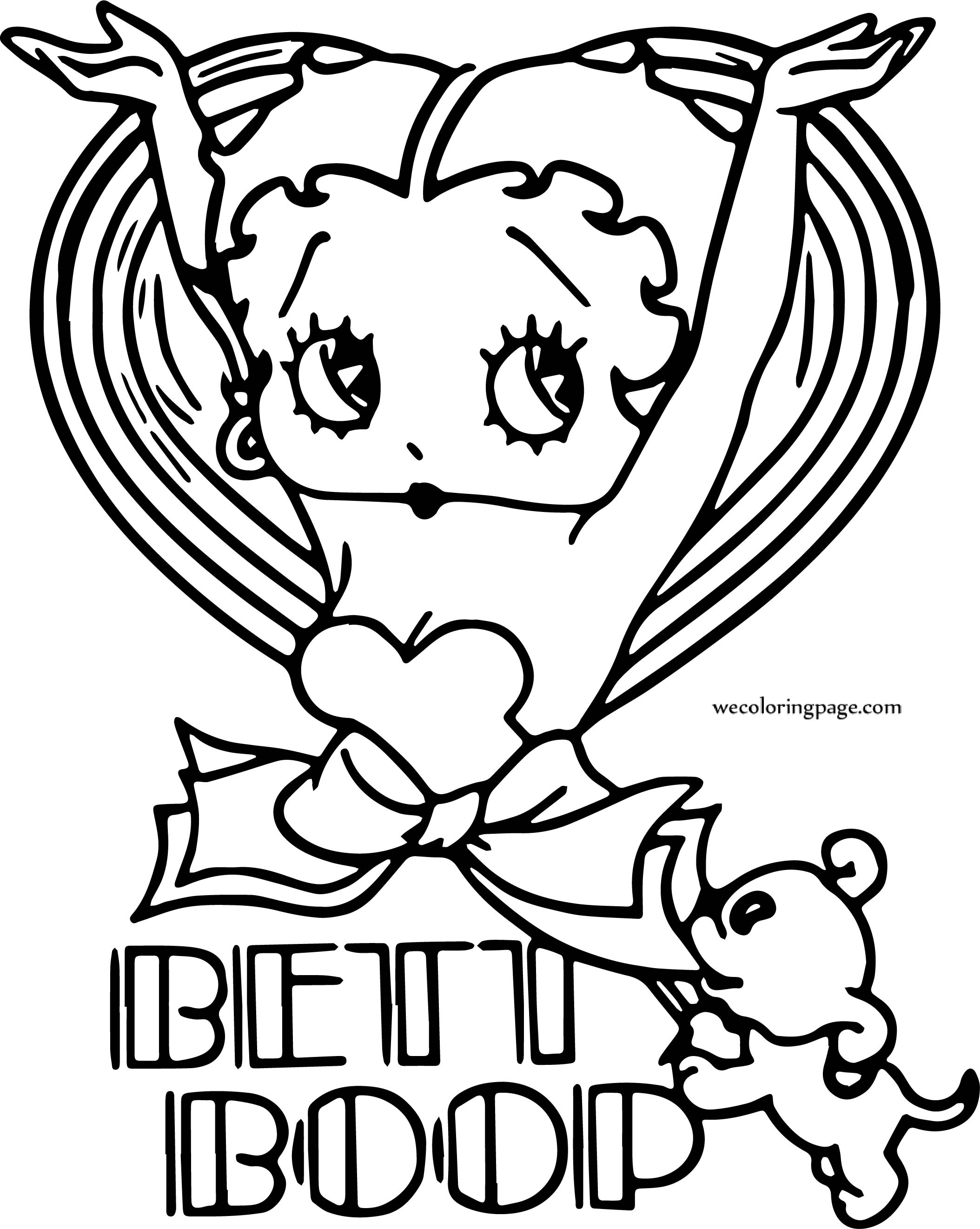 Betty Boop And Dog Cover Coloring Page