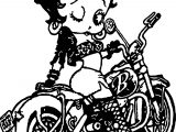 Betty Boop Black Bike Coloring Page