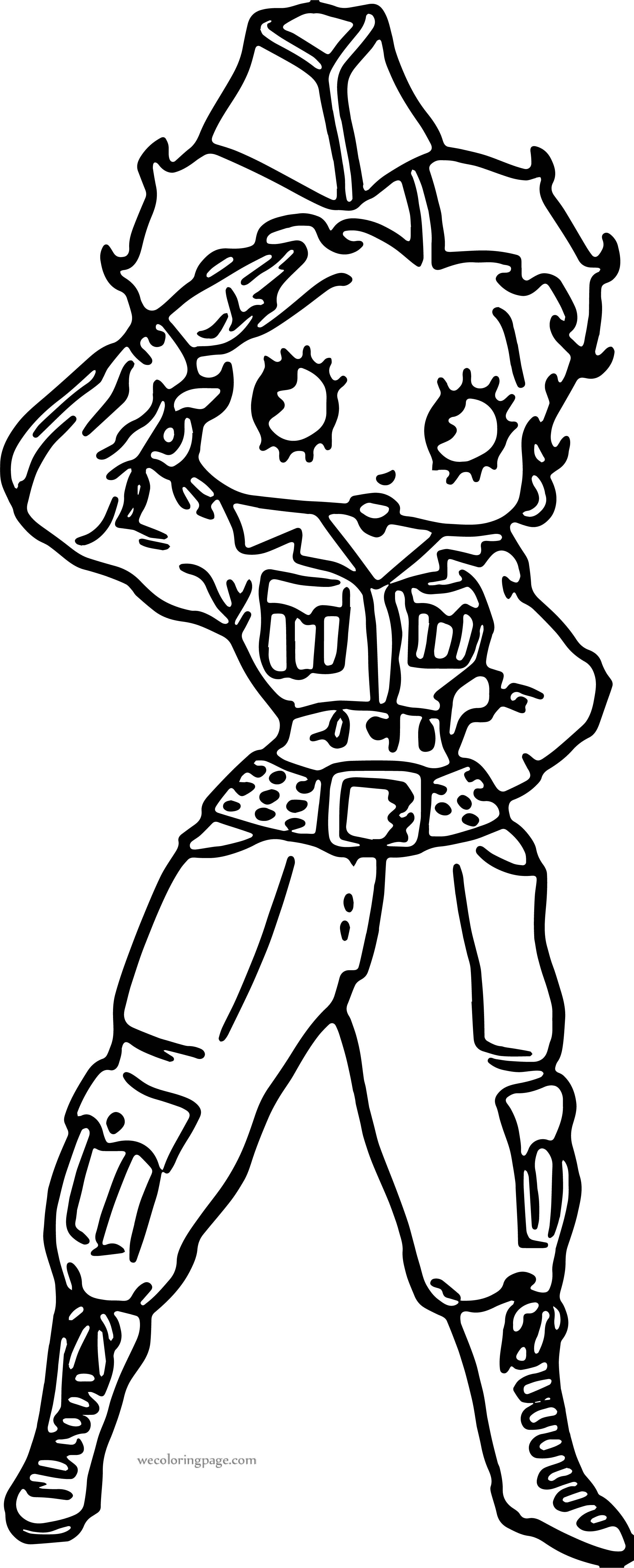 Betty Boop Soldier Hi Coloring Page Wecoloringpage Com