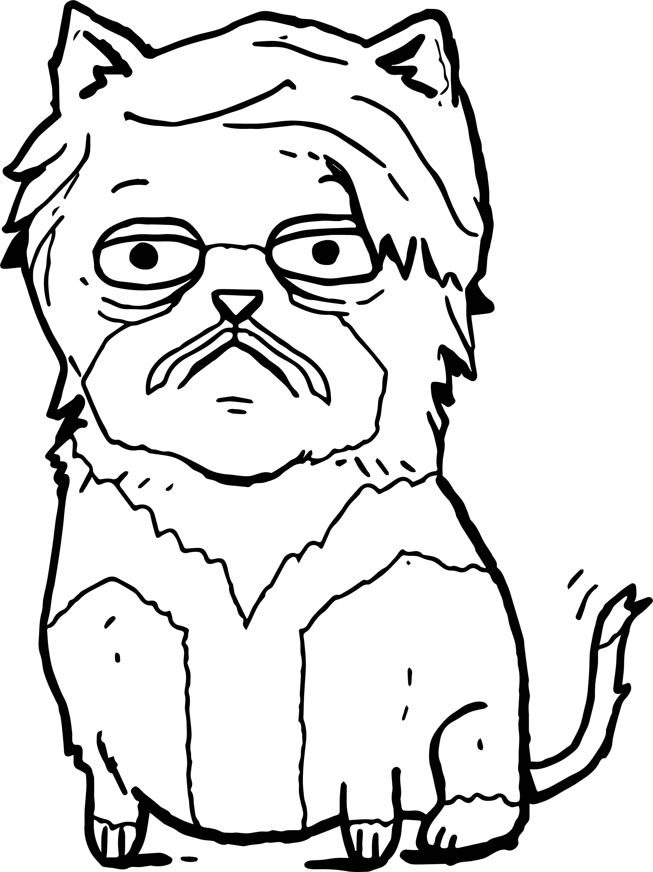 Old Big Cat Coloring Page