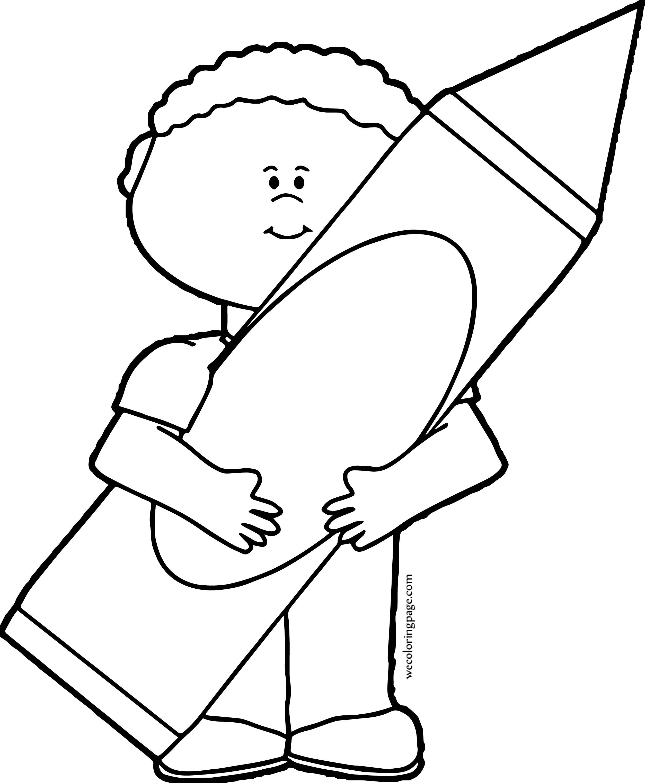 Big Crayon Pen Holding Boy Coloring Page