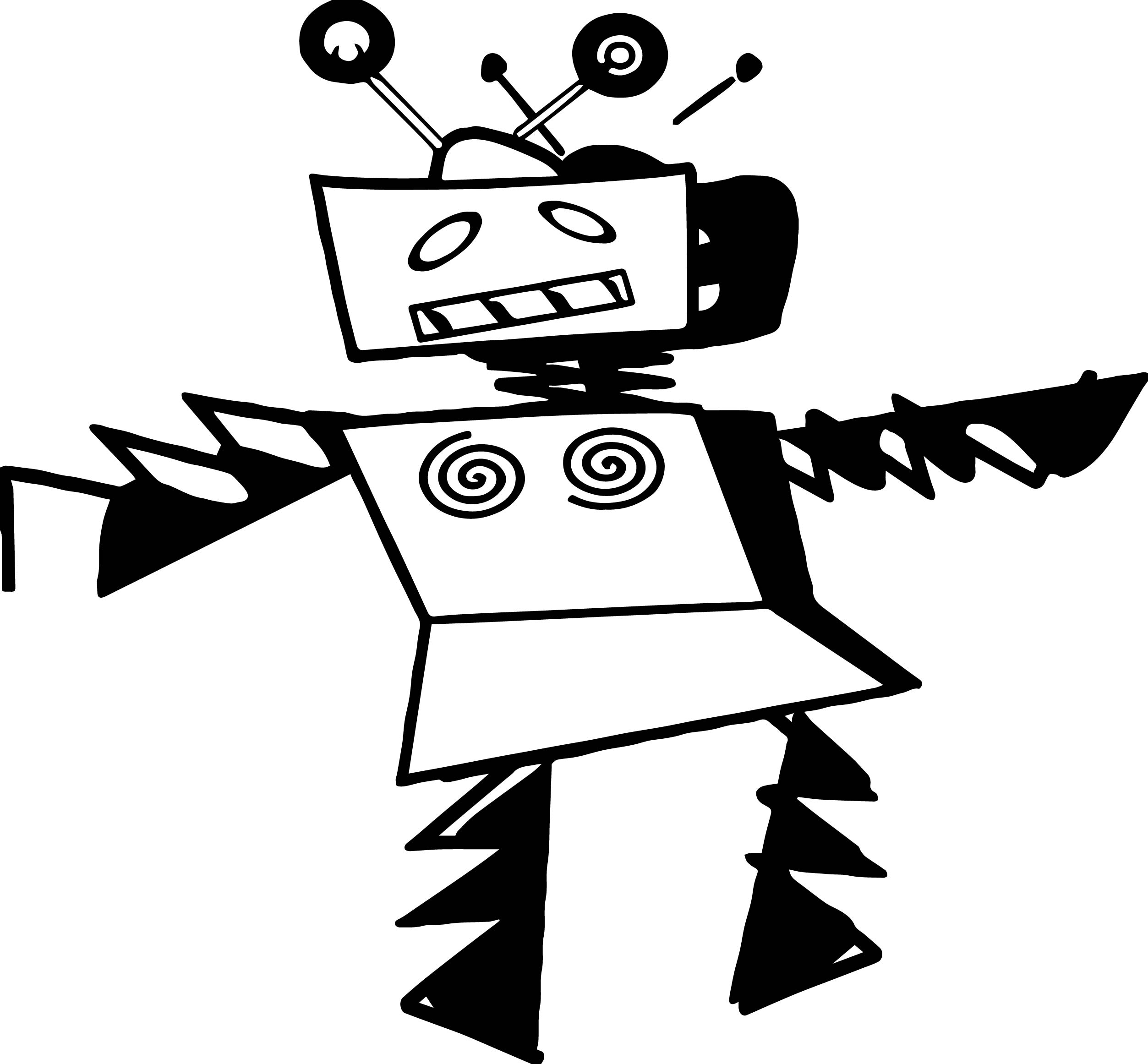 Black Robot Coloring Page