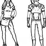 Boy Girl Characters Front View Coloring Page