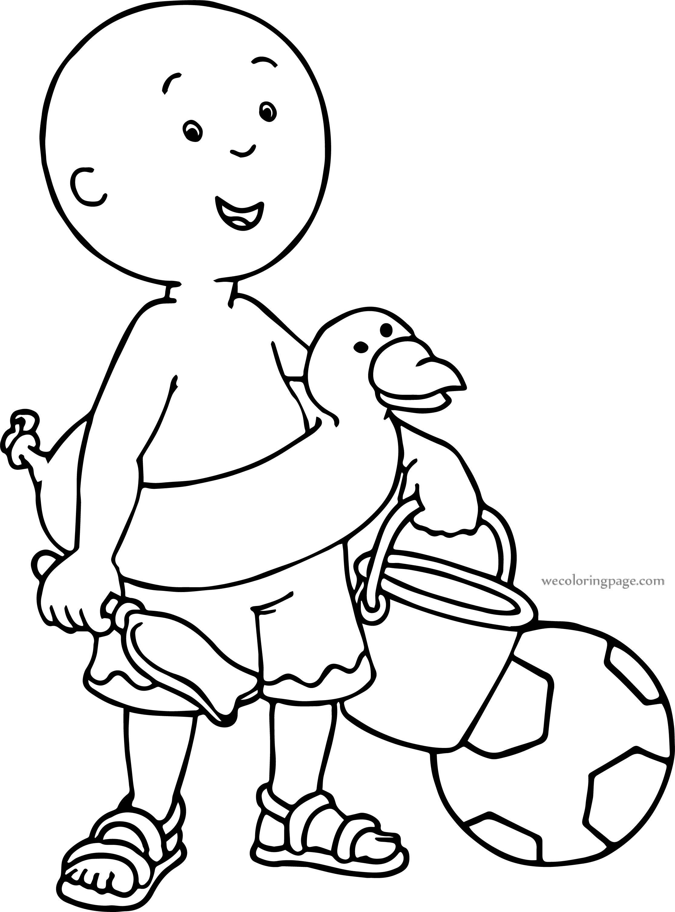 Caillou Beach Soccer Duck Summer Coloring Page