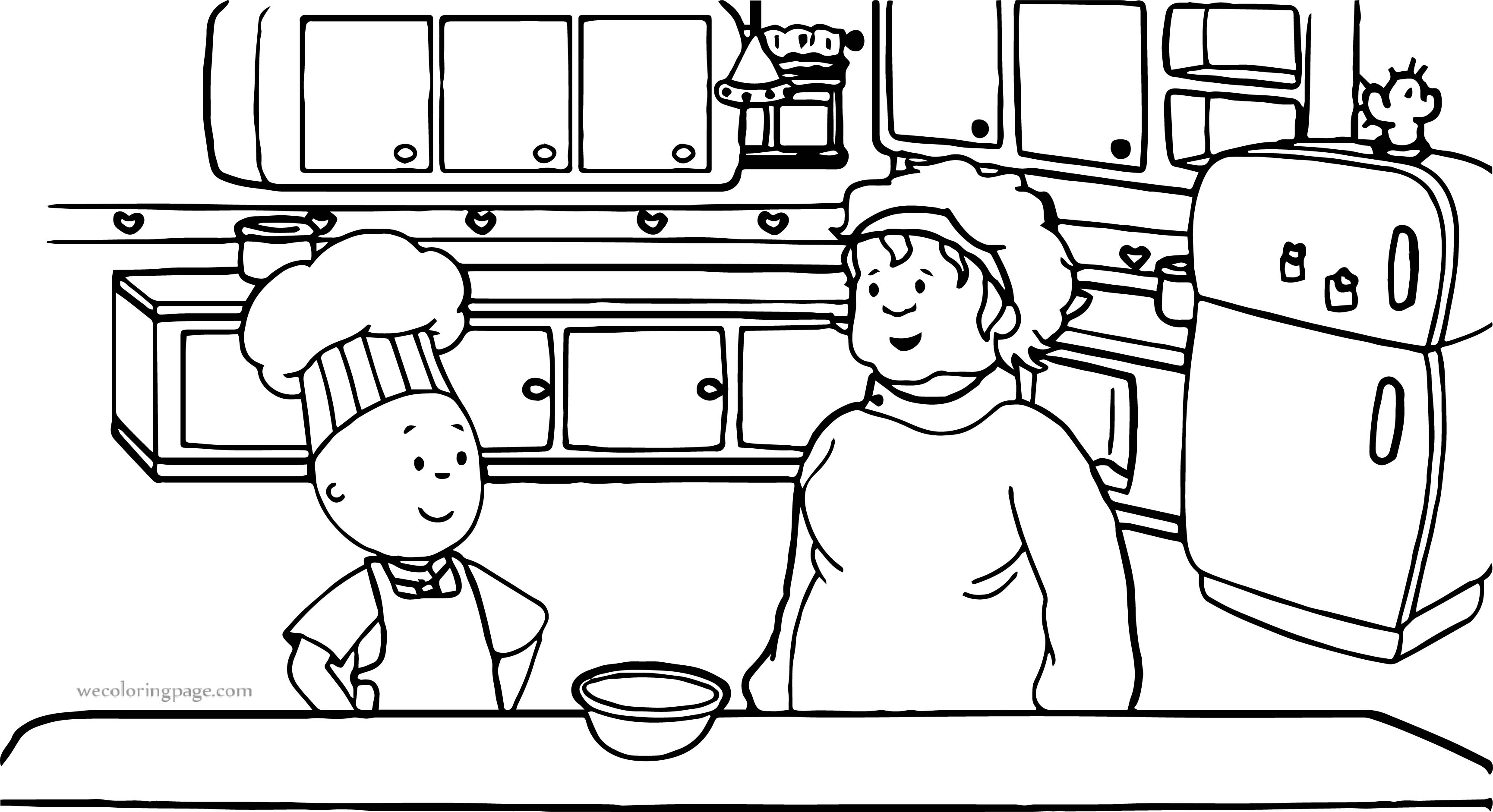 Caillou Boy And Mother Coloring Page
