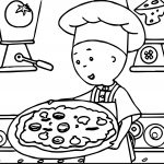 Caillou Cook Pizza Time Coloring Page