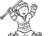 Caillou Hockey Coloring Page