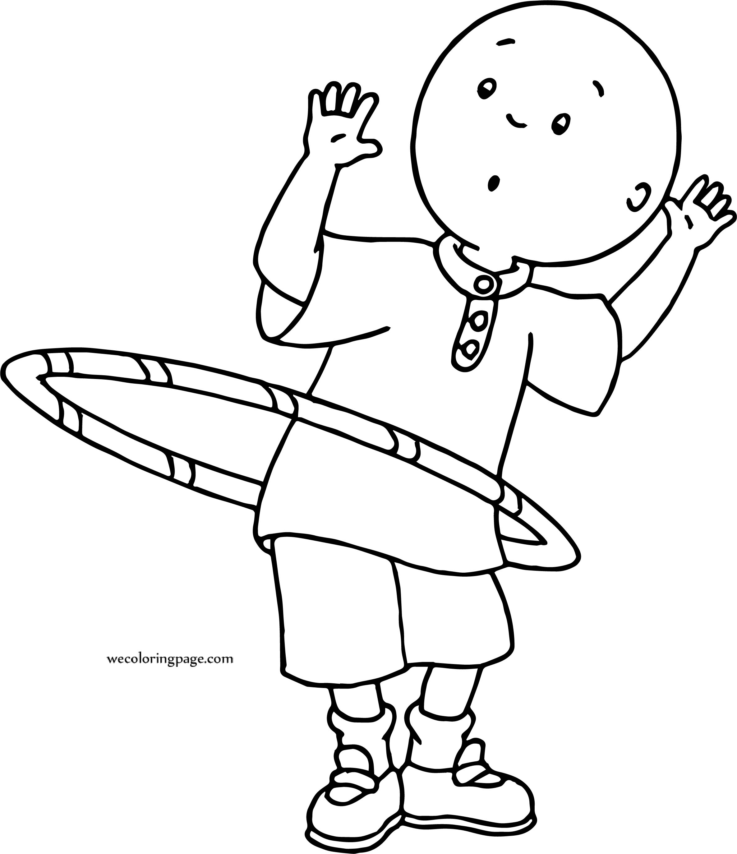Caillou Playing Turning Ring Coloring Page