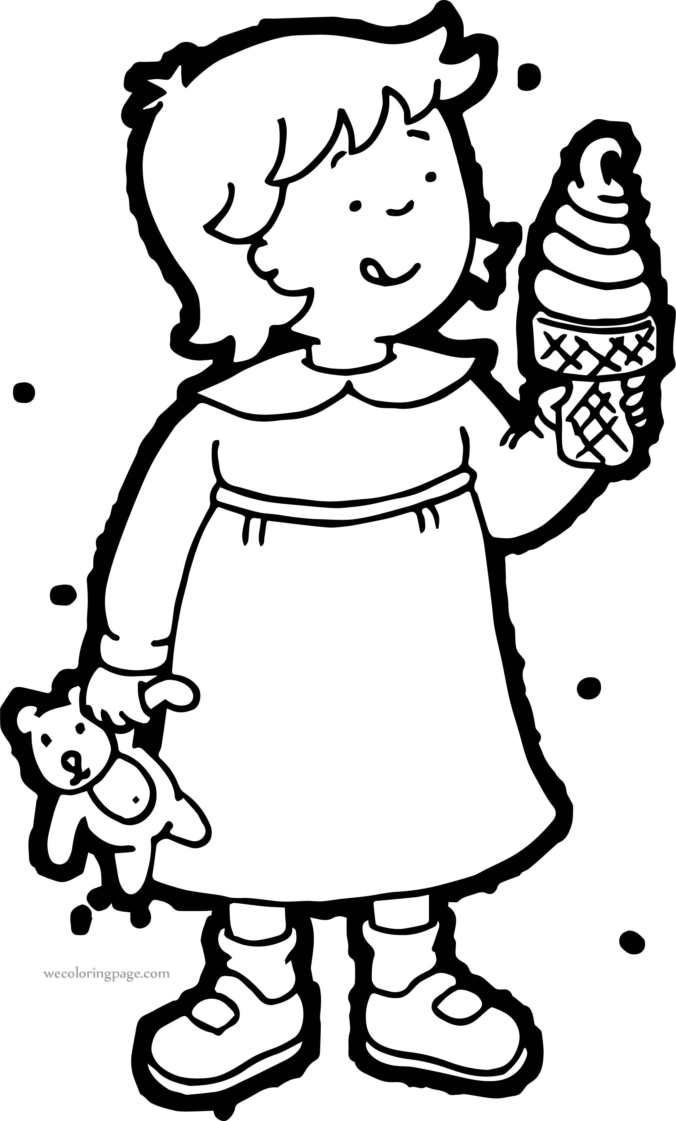 Caillou Sister Ice Cream Coloring Page