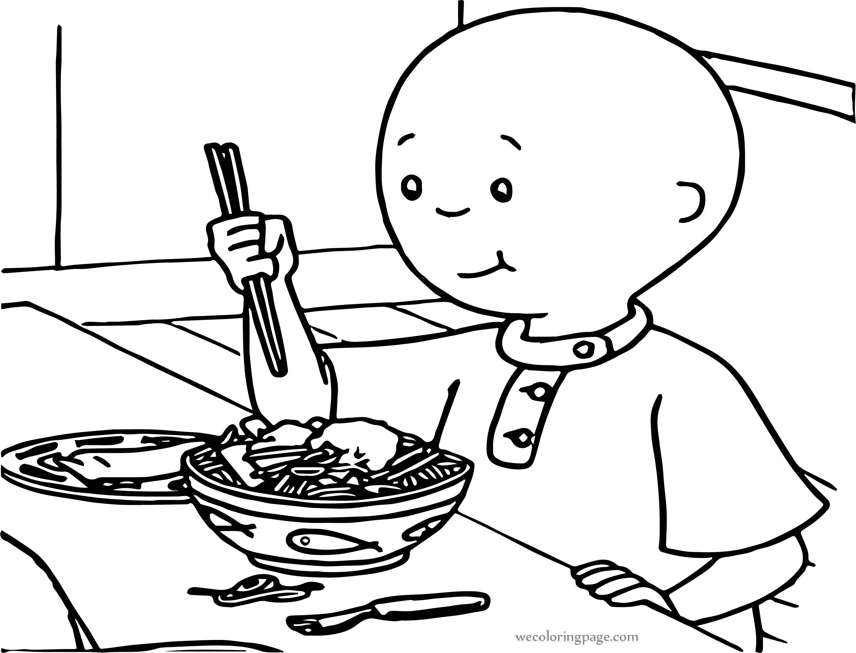 Caillou Spaghetti Coloring Page