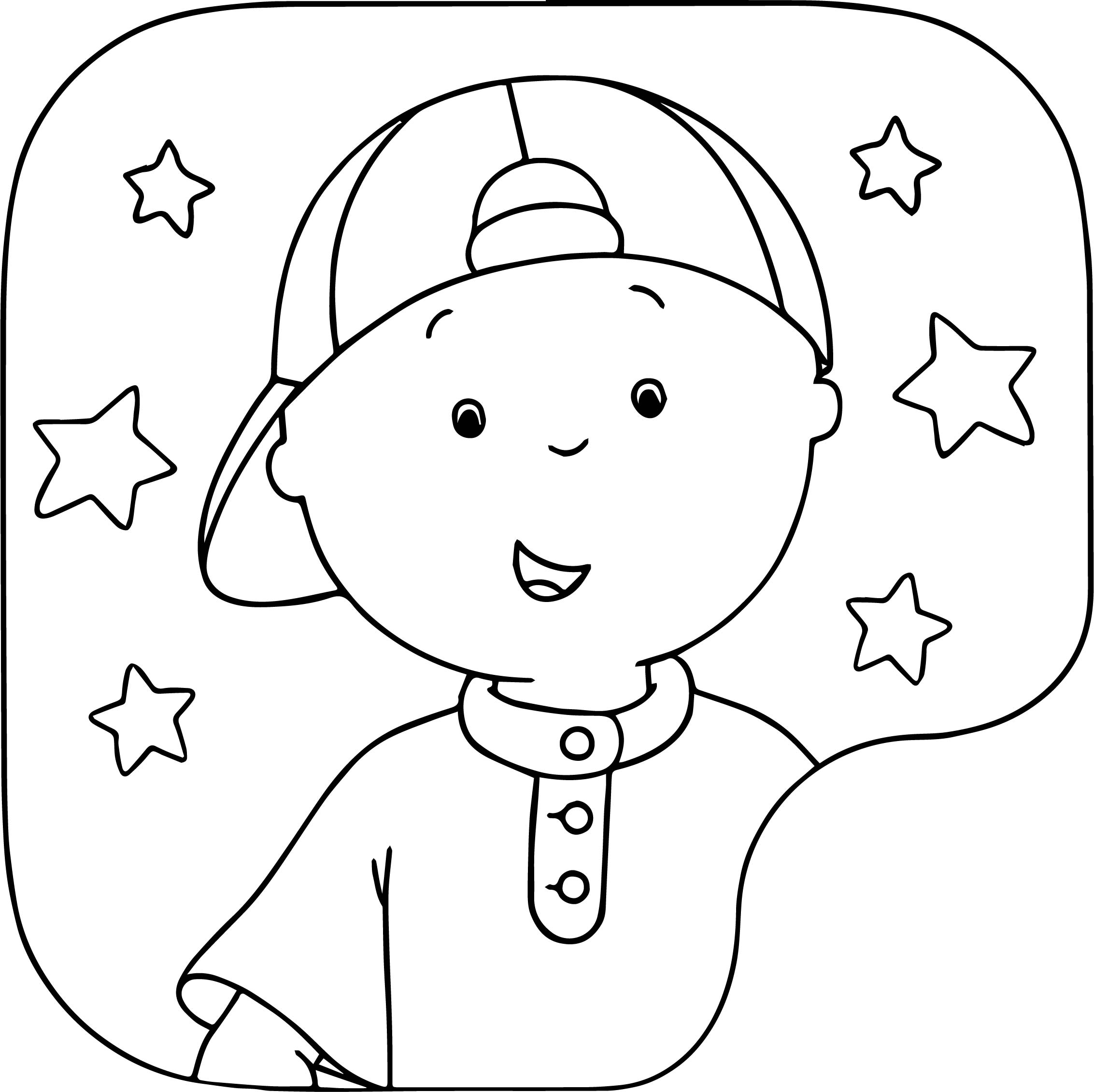 Caillou Star Frame Coloring Page