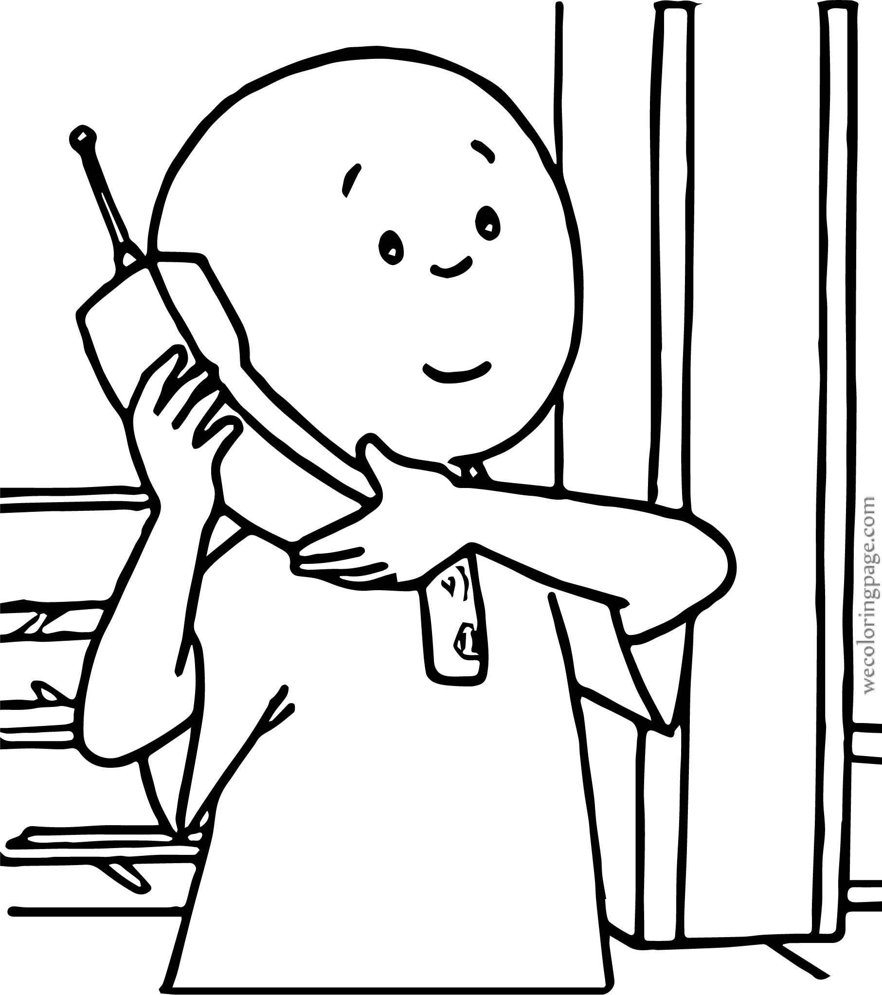 Caillou Talking Phone Coloring Page