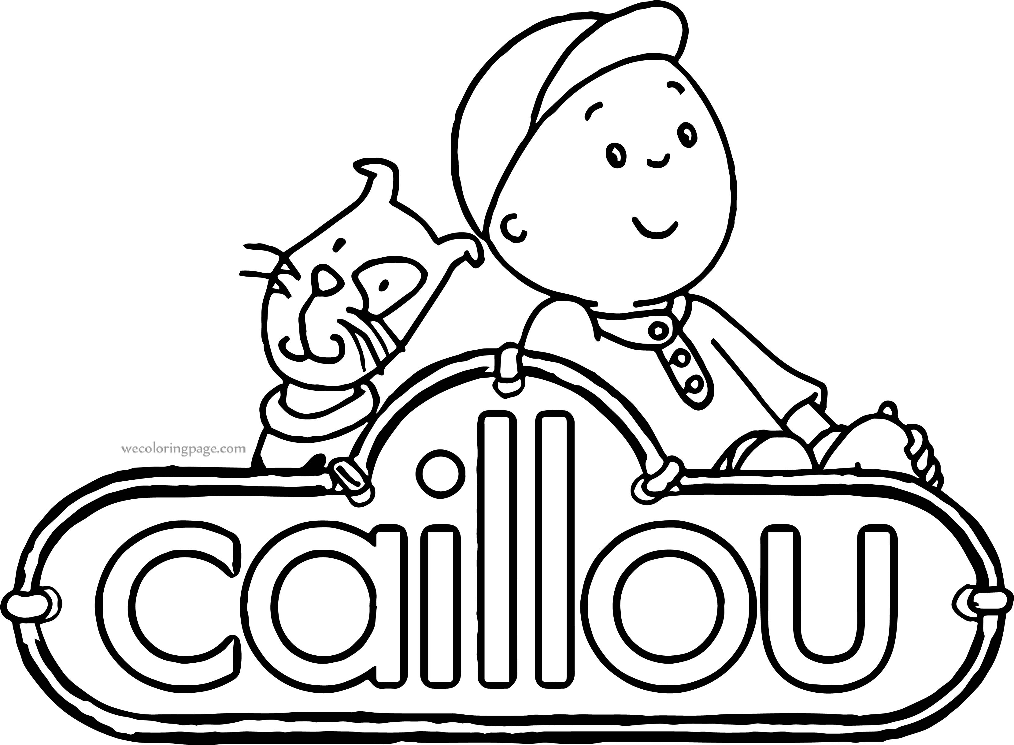 Caillou Text Cat Coloring Page
