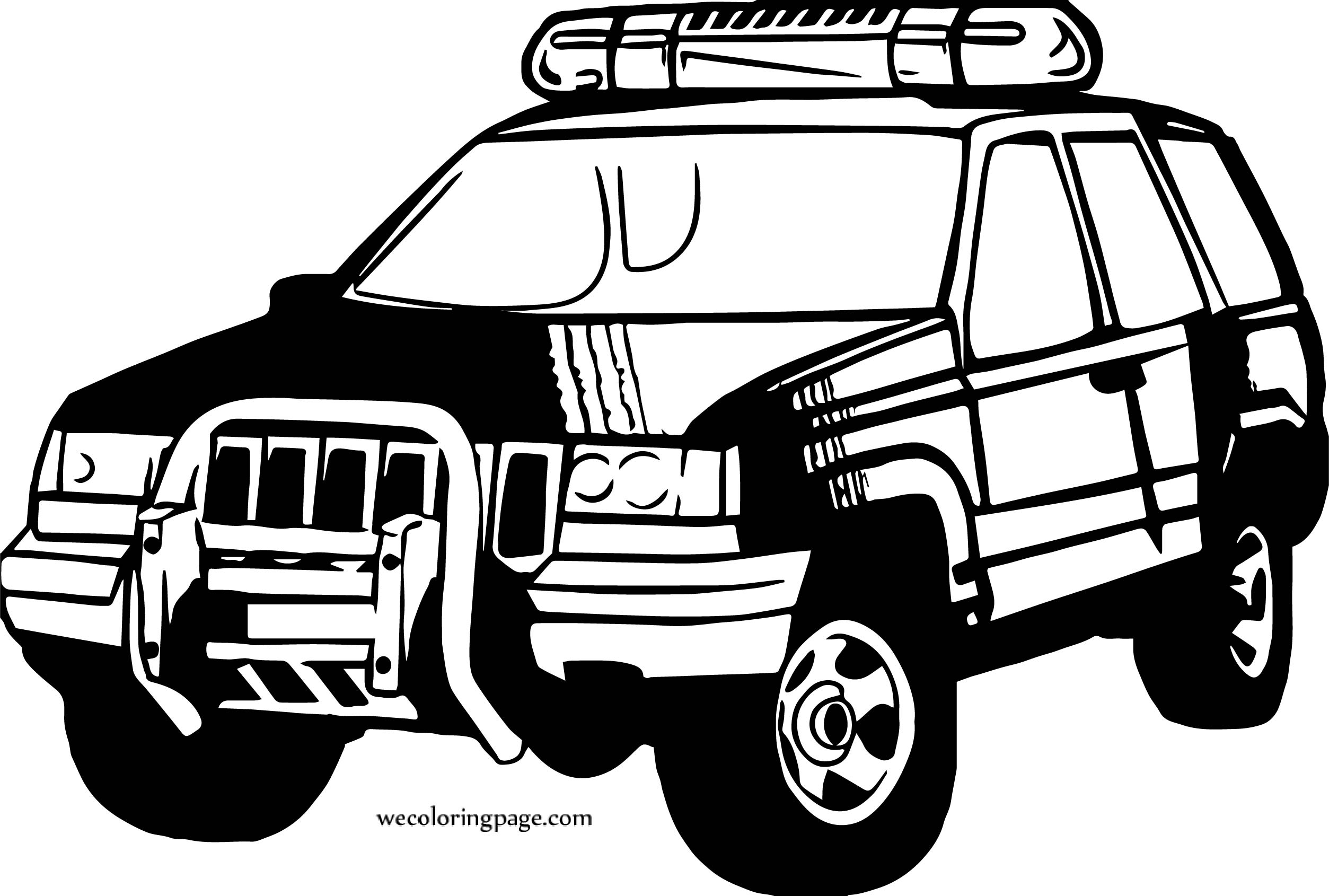 Car Jeep Police Coloring Page