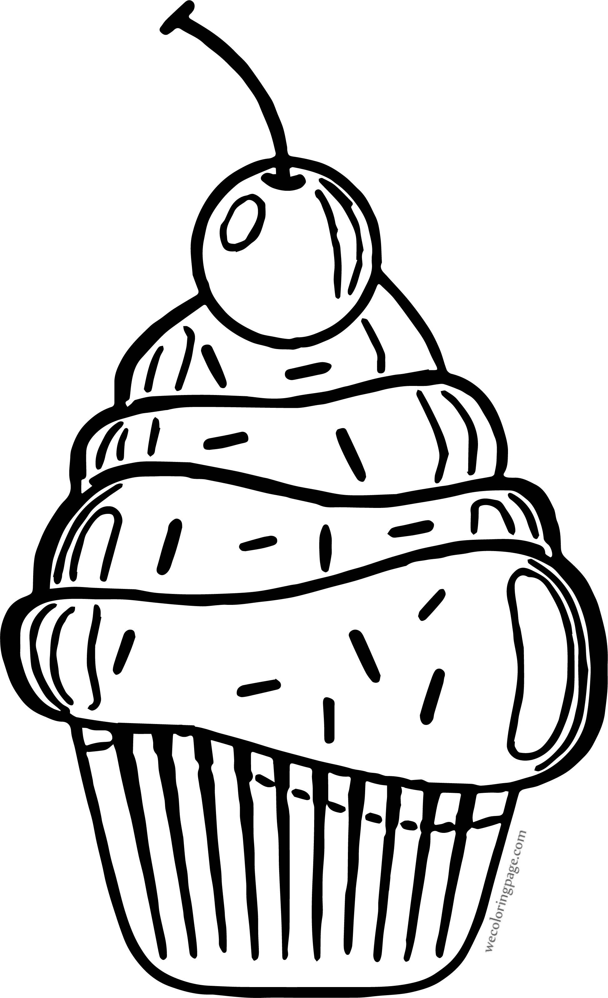 Cartoon Cherry Big Cupcake Crema Coloring Page