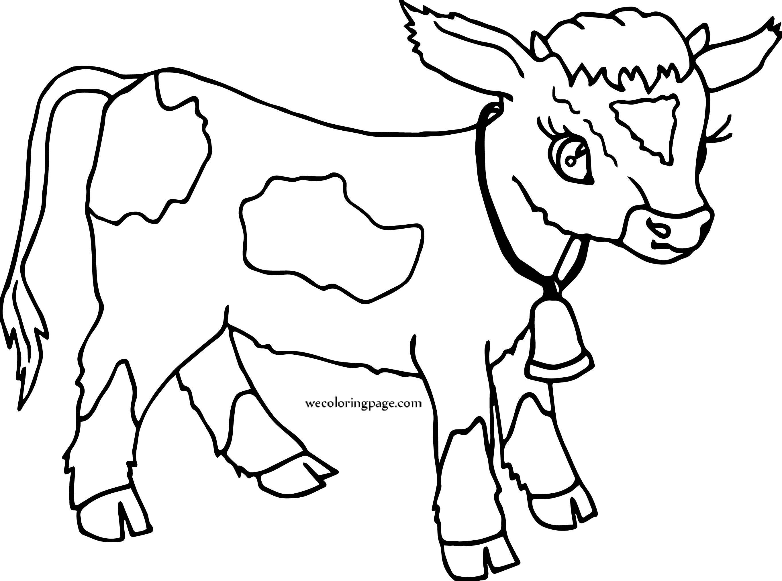 Cartoon Cow Calf Coat Coloring Page