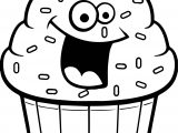 Cartoon Cupcake Coloring Page
