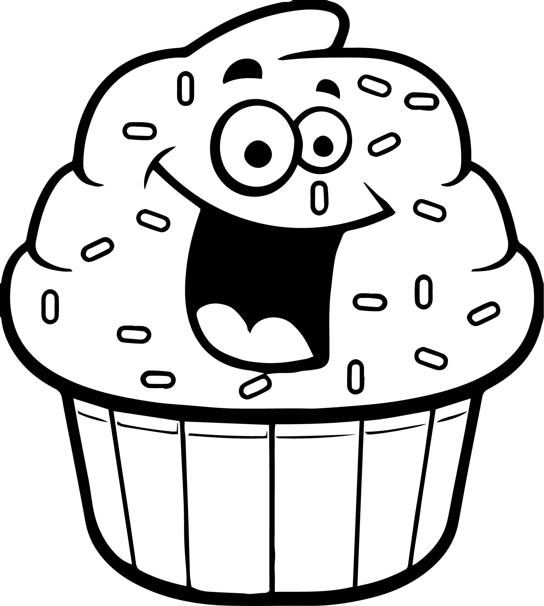 Cartoon Cupcake Coloring Page