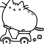 Cat Bike Coloring Page