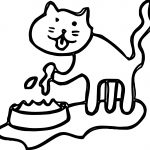 Cat Eating Cake Coloring Page
