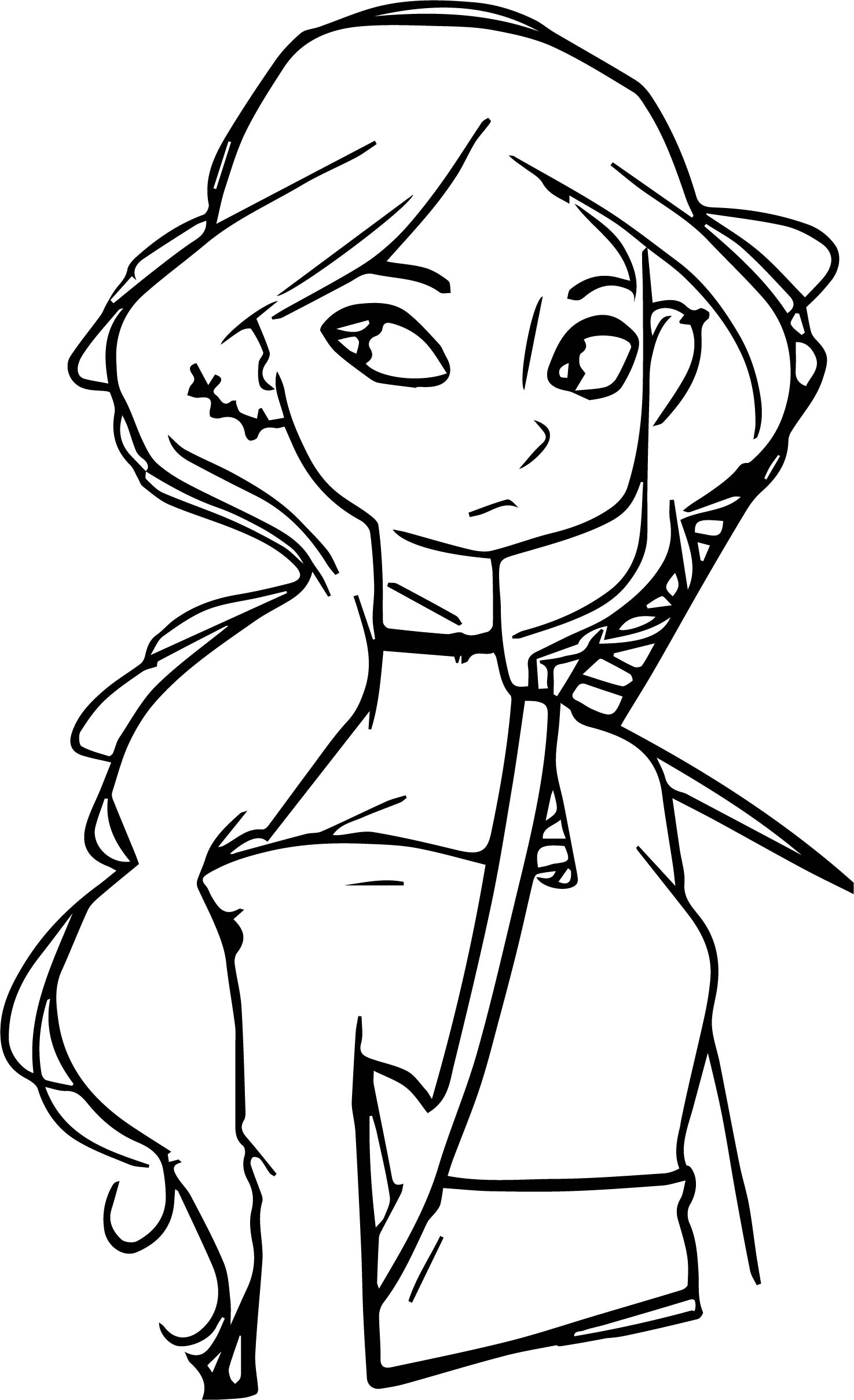 Characters Beautiful Ninja Girl Coloring Page