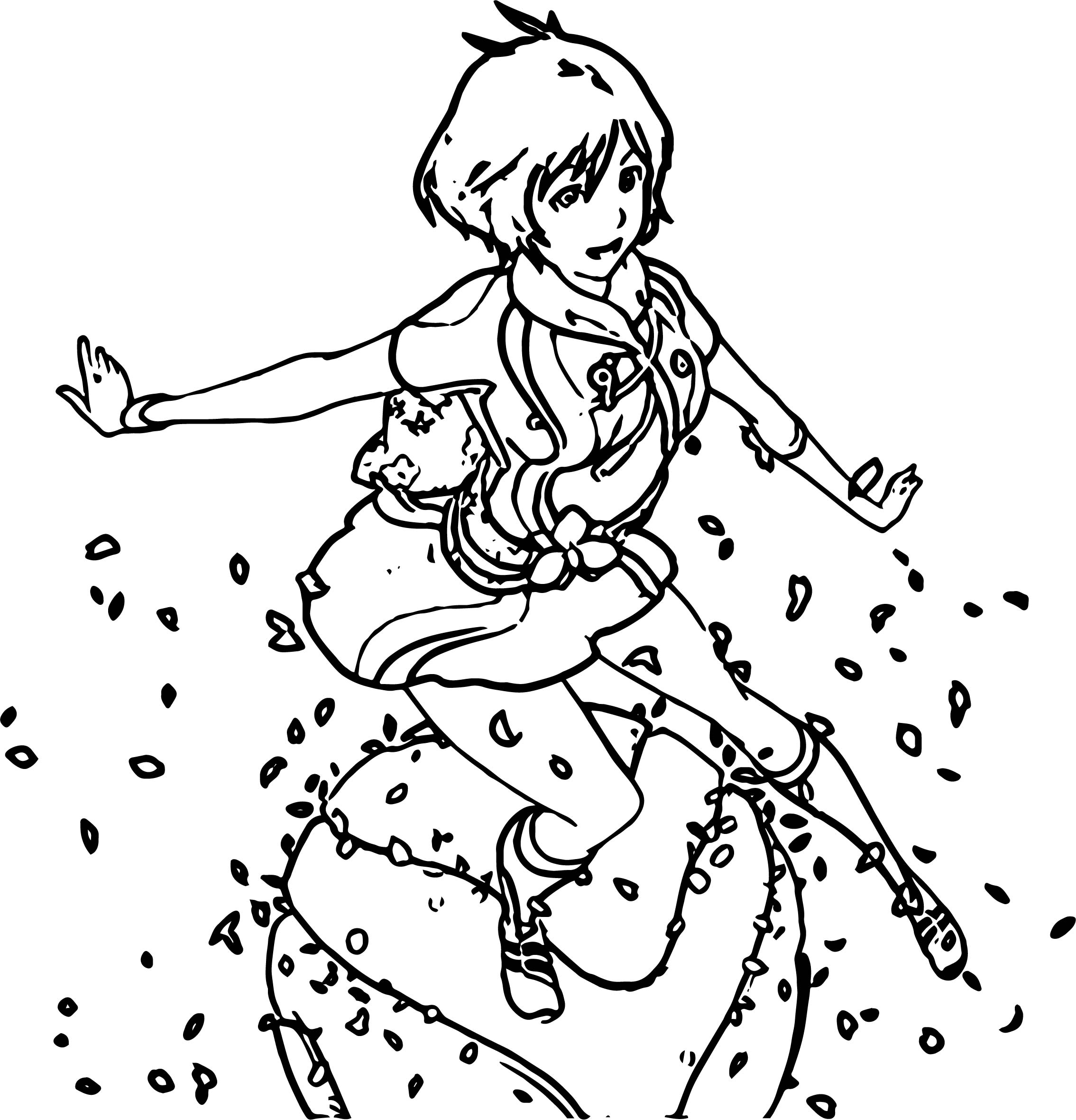 Characters Girl Feather Coloring Page