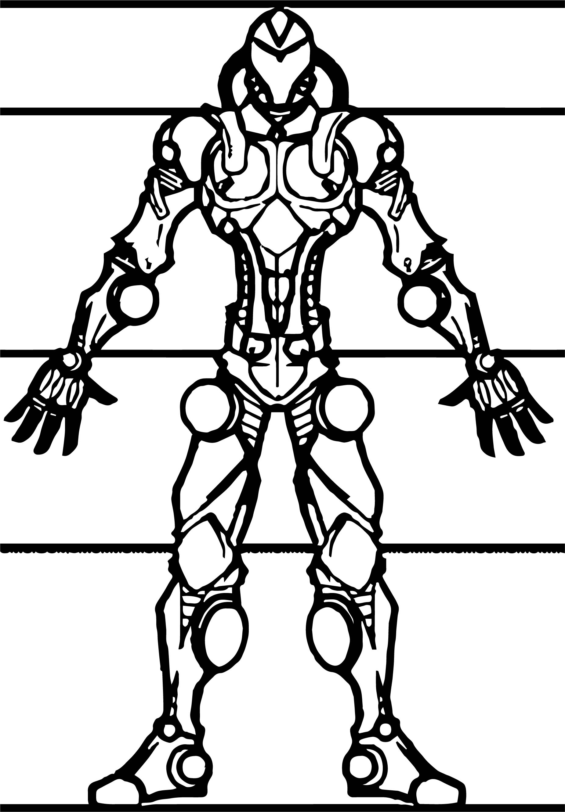 Characters Robot Front View Coloring Page