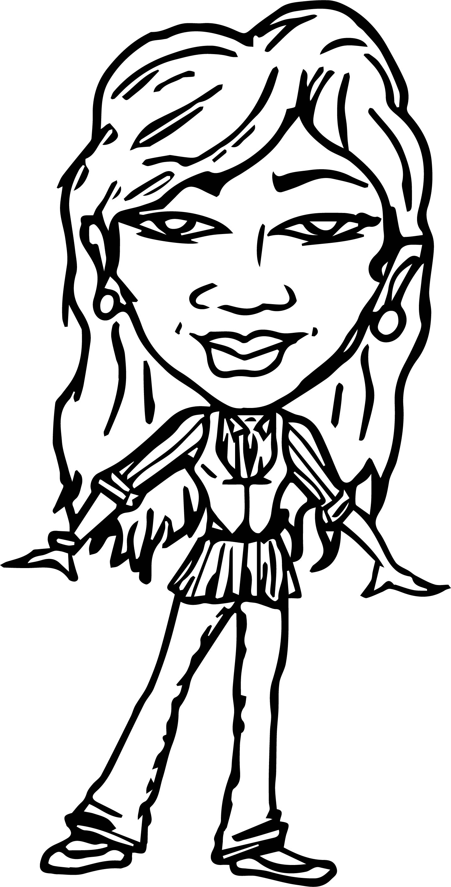Characters Woman Big Face Coloring Page