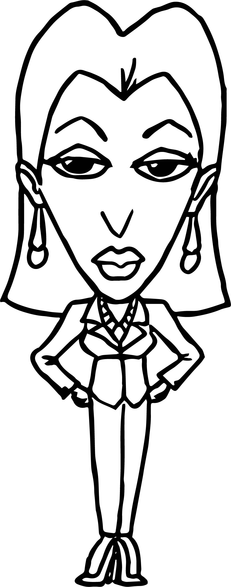 Characters Woman Big Head Coloring Page