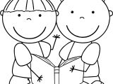 Charlie And Lola Boy Girl Reading Coloring Page