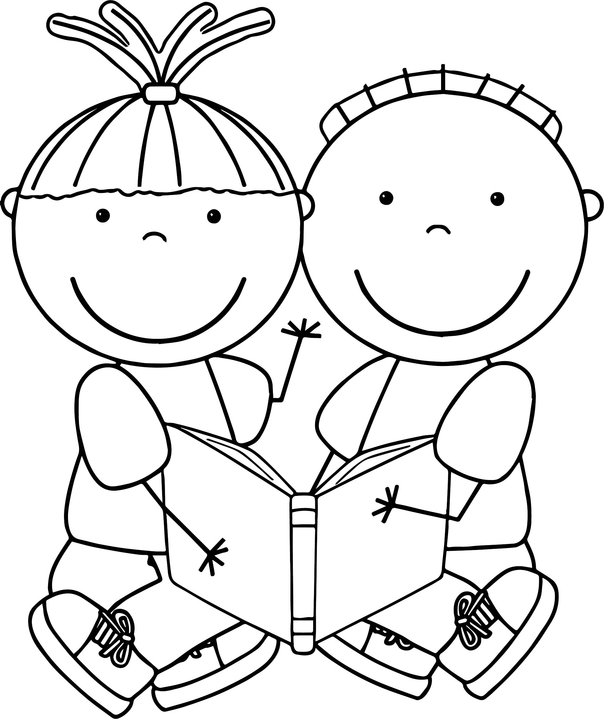 charlie and lola coloring pages - charlie and lola boy girl reading coloring page