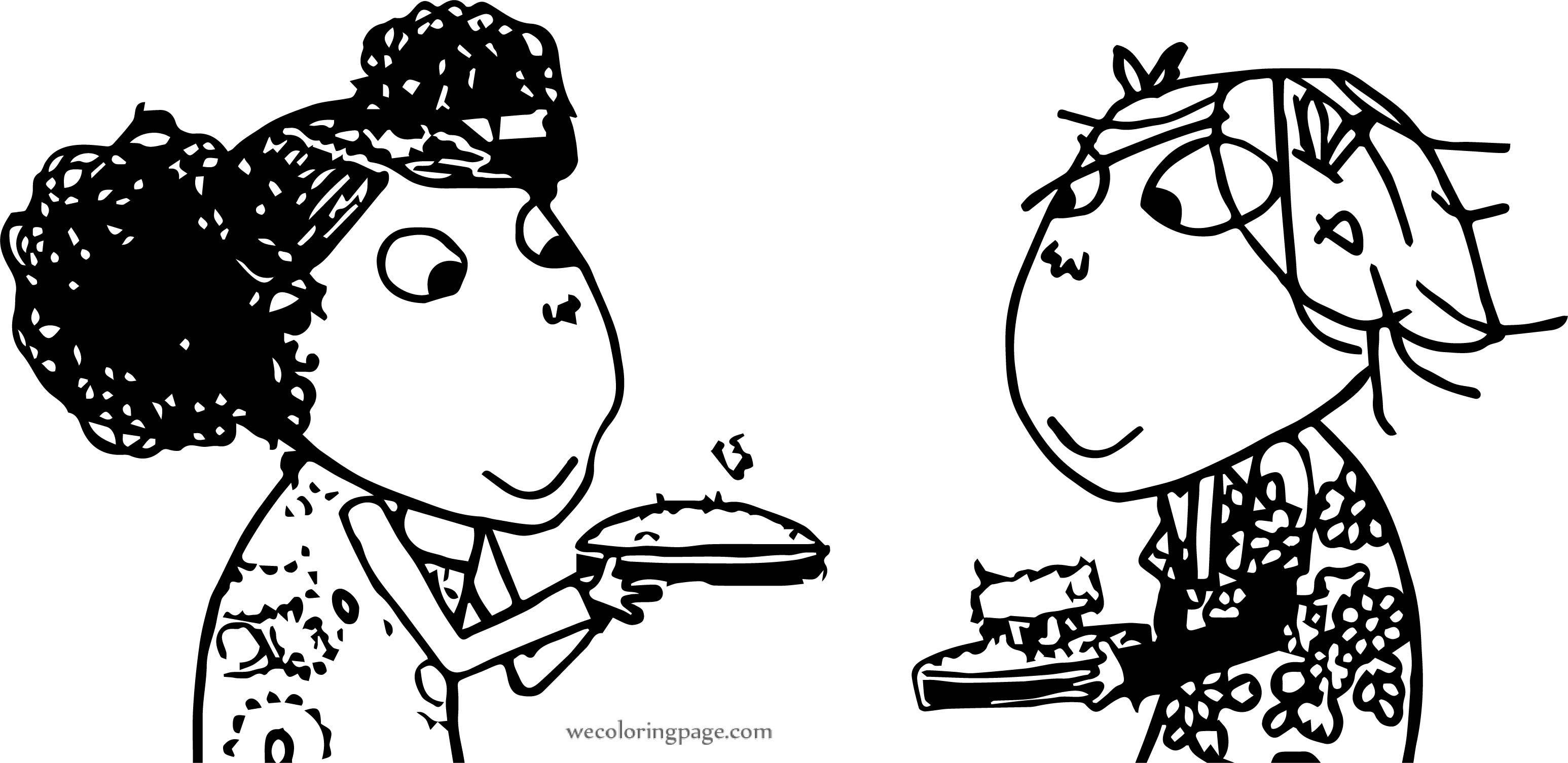 Charlie And Lola Cake Coloring Page
