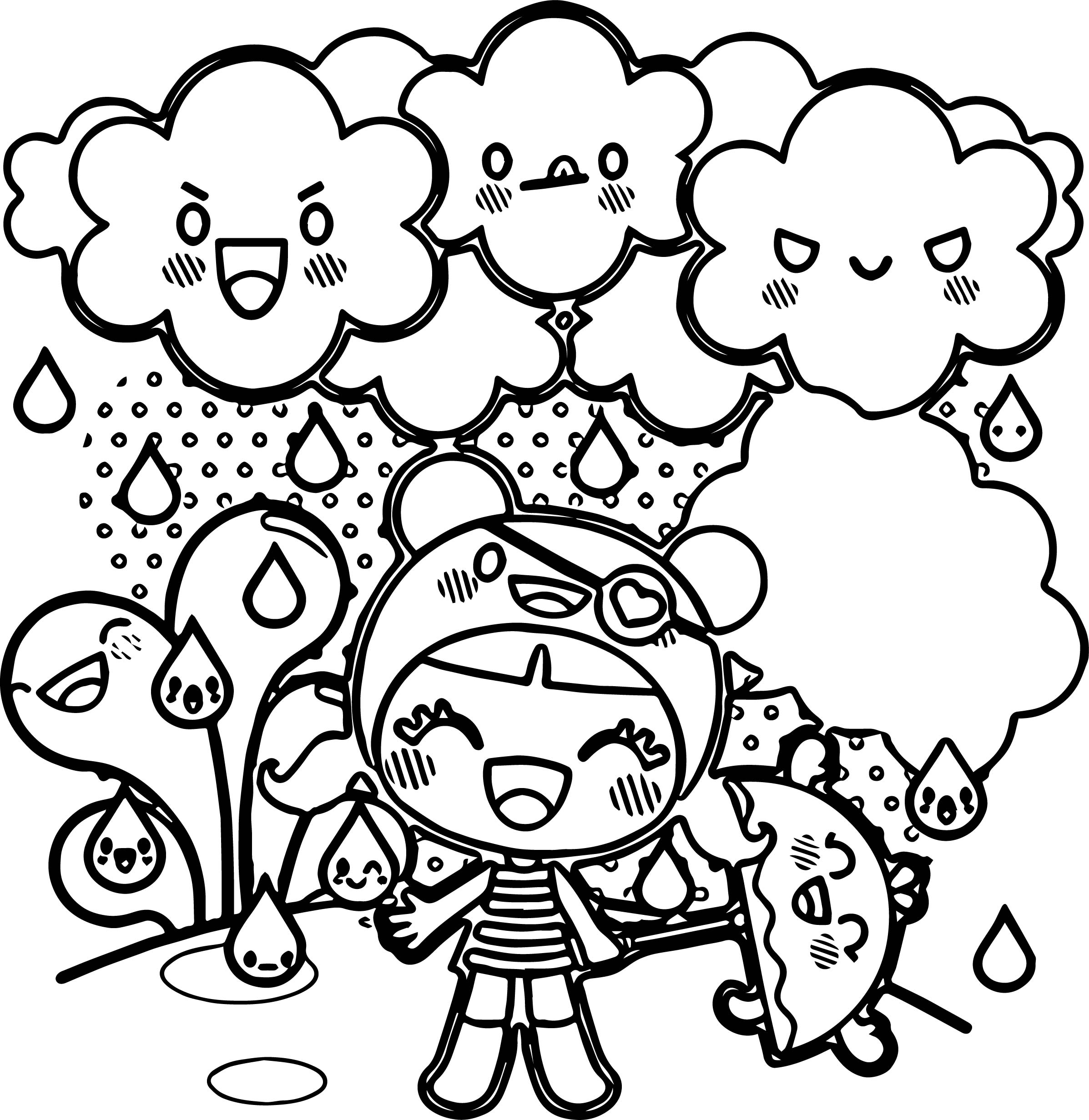 Chibi Girl Cloud Characters Coloring Page