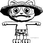 Chinese Cat Front View Coloring Page