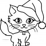Christmas Girl Cat Coloring Page